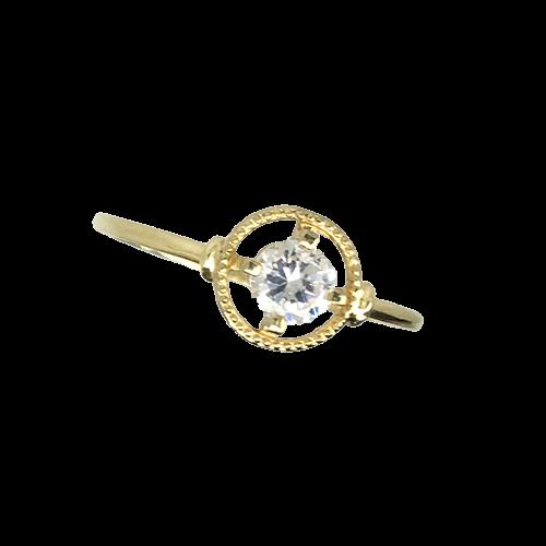 טבעת ילדות זהב צהוב 14K אבן חן לבנה OP08140011130