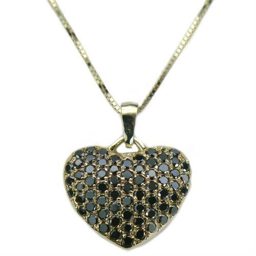 שרשרת ותליון לב פאווה בזהב 14 קרט משובץ יהלומים שחורים 0.85 קראט