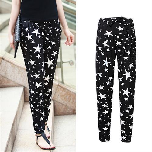 מכנס סקיני כוכבים דגם אשלי (צבע שחור)