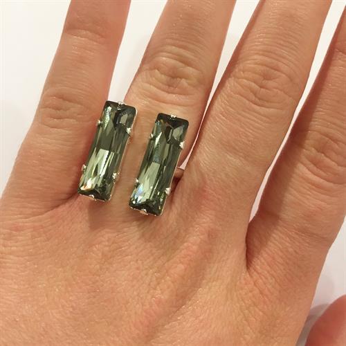 טבעת מלבן כפולה כסף אפור