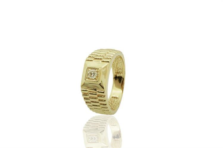 טבעת לגבר בסגנון רולקס משובצת יהלום עשויה בזהב
