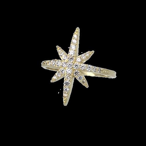 טבעת ילדות ונערות זהב צהוב 14K כוכב משובץ OP04160035571