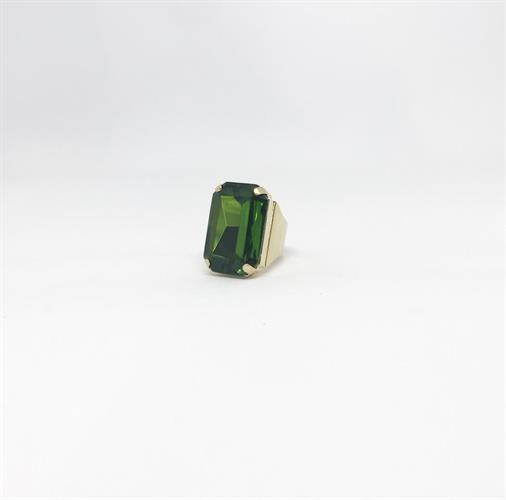 טבעת איריס ירוק בקבוק זהב