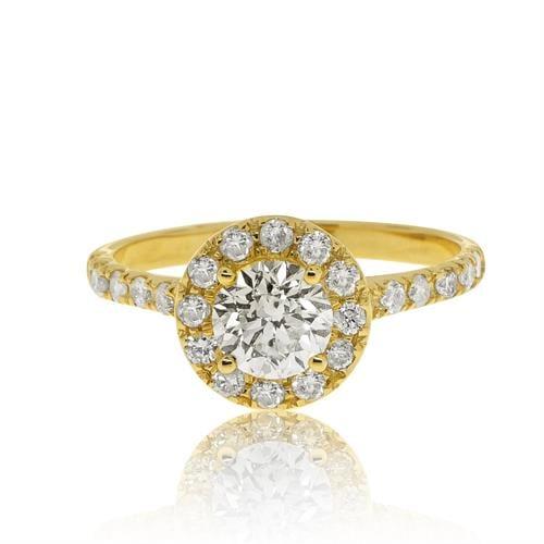 טבעת אירוסין משובצת יהלומים 0.75 קראט בזהב 14 קרט