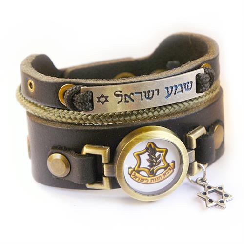 """צמיד שמע ישראל צבאי עם סמל של צה""""ל"""