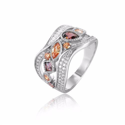 טבעת כסף בשיבוץ זירקונים ואבני חן