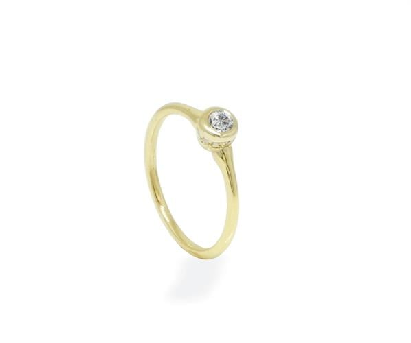 טבעת יהלומים 0.25 קראט יהלומים בזהב 14K
