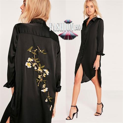 שמלה מעוצבת מעוטרת פרחים (צבע שחור)