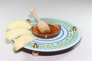 כלי לדבש ותפוחים ירוק תכלת Dvash_02