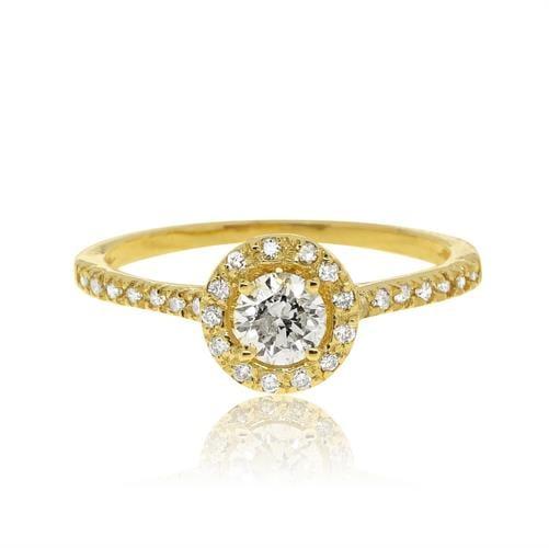 """טבעת """"האלו"""" זהב 14 קראט משובצת 0.67 קראט יהלומים"""