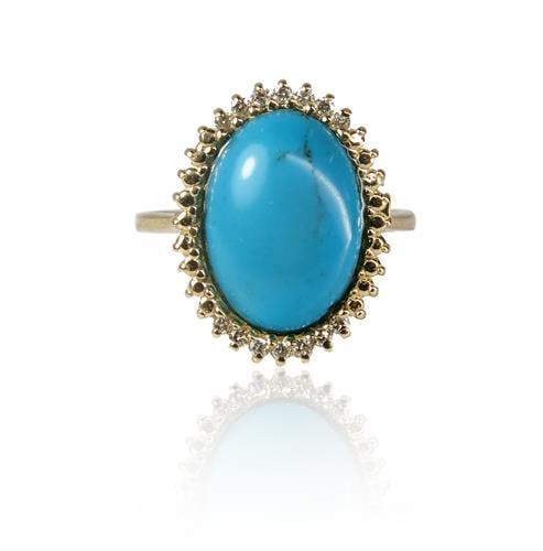 טבעת זהב משובצת אבן טורקיז ויהלומים 0.12  קראט