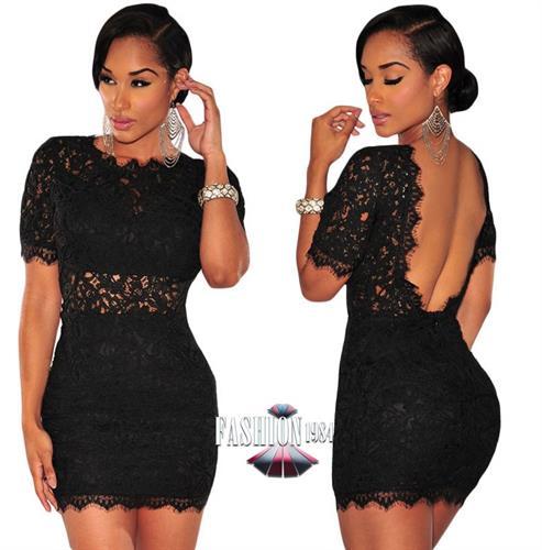 שמלת מיני מעוצבת תחרה גב חשוף דגם לין