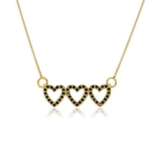 שרשרת לבבות זהב 14 קרט משובצת יהלומים שחורים 0.25 קראט