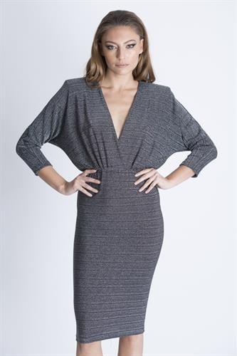 שמלת אריקה פס לורקס כסף