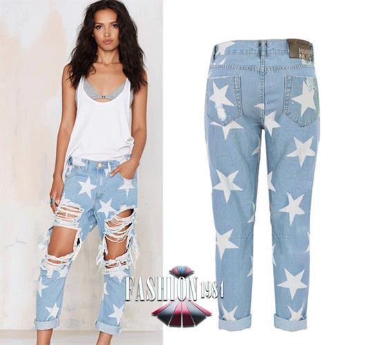 ג'ינס כוכבים מדליק (צבע כחול)