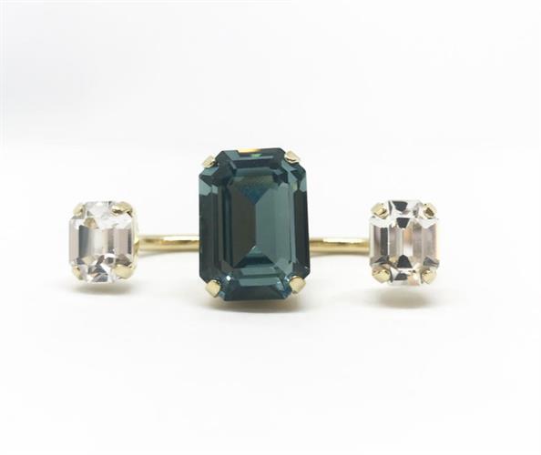 טבעת שלישייה ירוק לבן זהב