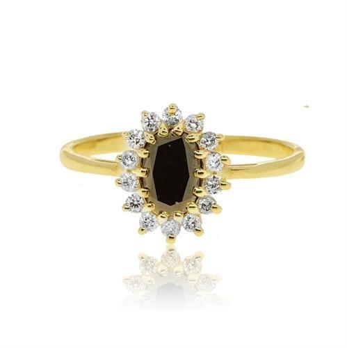 טבעת דיאנה אבן ספיר 1 קראט ויהלומים 0.26 קראט בזהב 14 קרט
