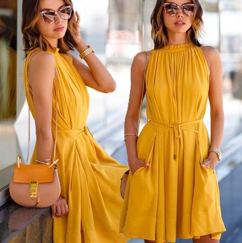 שמלת מיני מעוצבת דגם מירל (צבע צהובׂ)