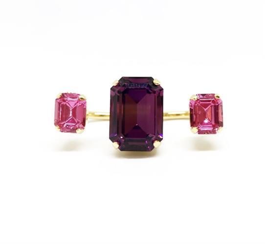 טבעת שליישית אבנים ורוד זהב