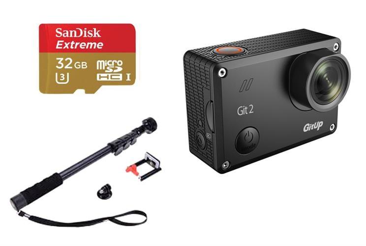 מצלמת אקסטרים GITUP GIT2 עם כרטיס זיכרון ומוט