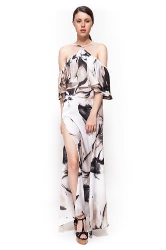 שמלת אקס פקטור בז' פרחוני