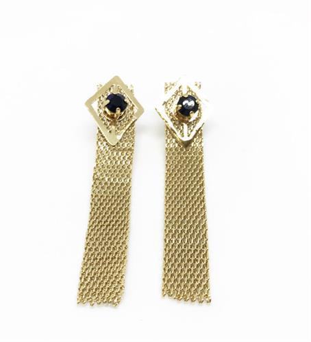 עגילי קלי רשת שחור זהב