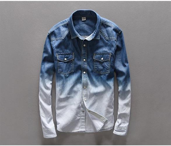 חולצת ג'ינס מעוצבת דגם לואי (צבע כחול משולב)