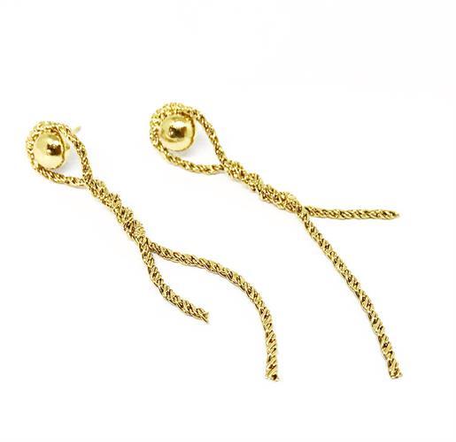 עגילי חבל עיגול זהב