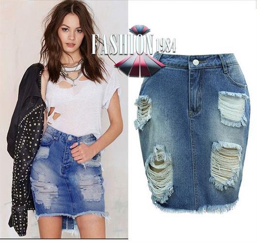 חצאית ג'ינס מעוצבת דגם פביולה