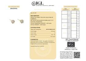עגילי יהלומים צמודים מעוטרים 1.26 קראט - תעודה גמולוגית