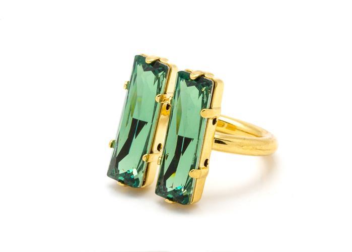 טבעת מלבנים זהב ירוק