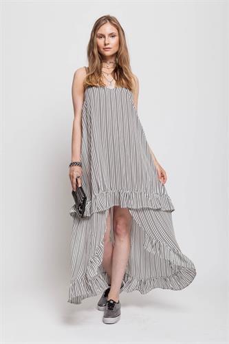 שמלת מנדרין שחורה פסים דק לבן