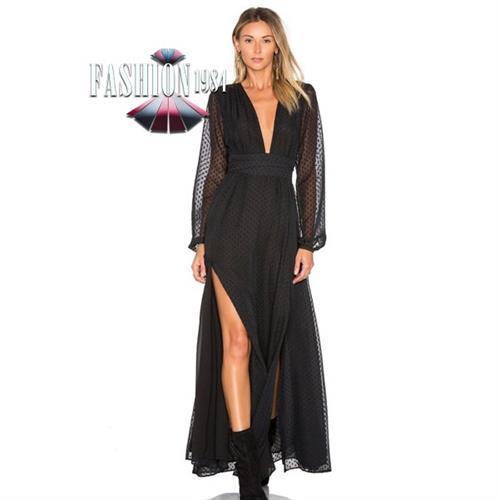 שמלת מקסי מעוצבת דגם ליינור (צבע שחור)