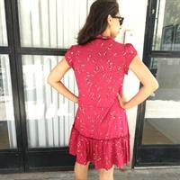 שמלת בלום בורדו פוייל