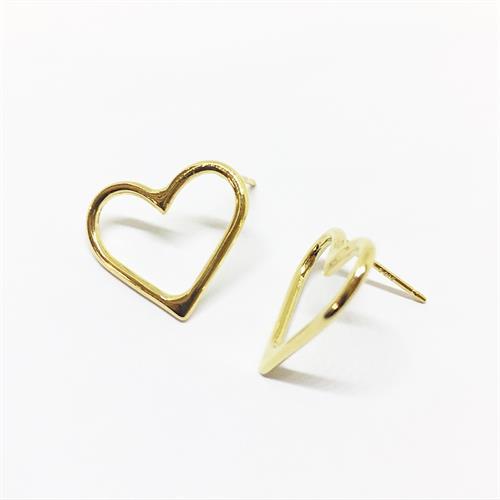 עגילי לב זהב
