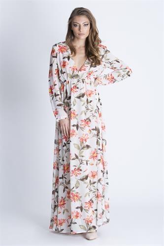 שמלת קארה פרחונית לבן