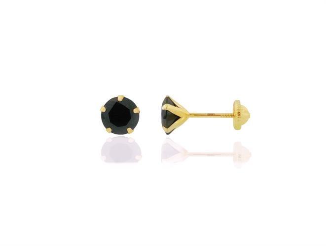 עגיל זהב לגבר עם אבן שחורה עגולה