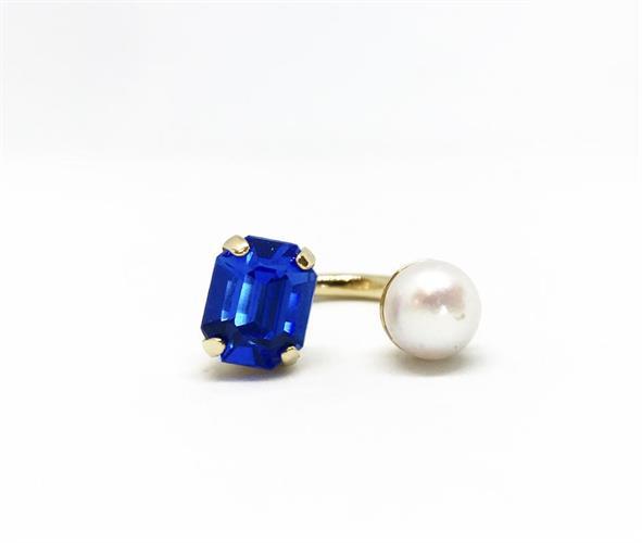 טבעת קוקו פנינה כחול זהב