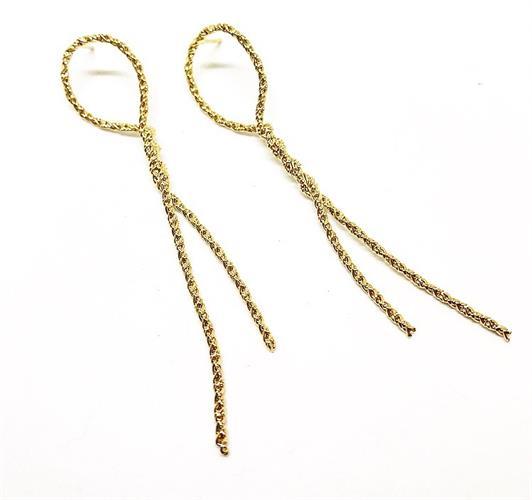עגילי חבל דק גדול זהב