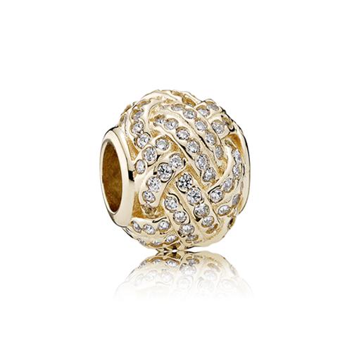 צ׳ארם זהב 14K פנדורה קשר אהבה מנצנץ 750991CZ