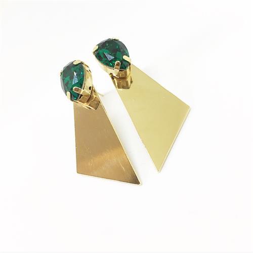 עגילי רוז זהב ירוק