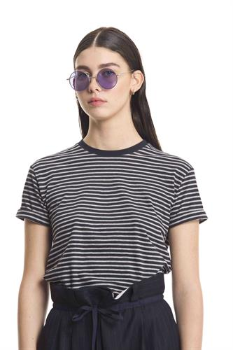 BLUE COTTON STRIPE T