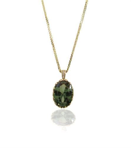 שרשרת ותליון זהב 14 קראט משובצת אבן פרידוט זרקון