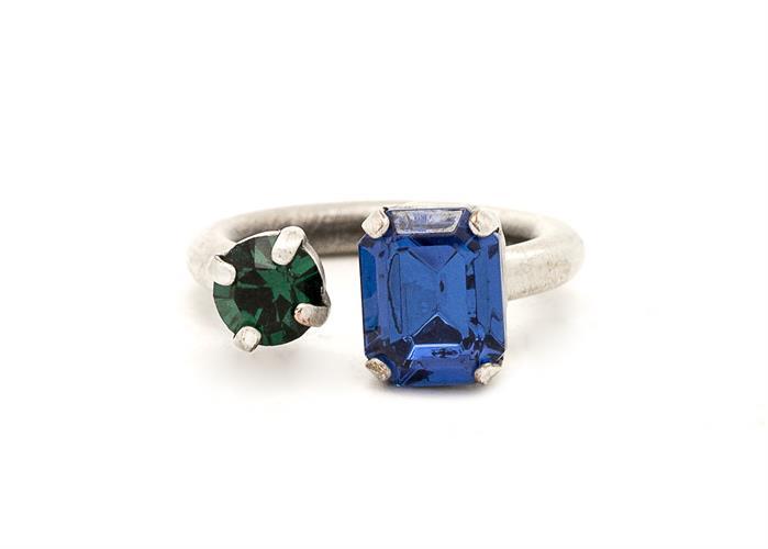 טבעת סנדי כסף כחול-ירוק