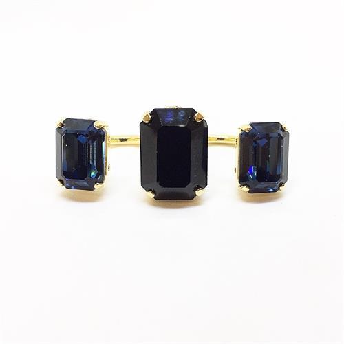 טבעת כפולה מרובע זהב