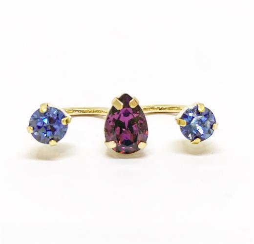 טבעת כפולה סגול זהב