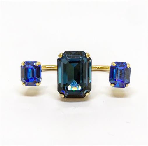 טבעת כפולה ירוק-כחול זהב
