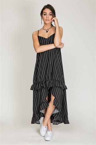 שמלת מנדרין שחור פסים