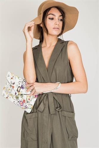 שמלת נבדה ירוק זית