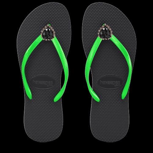 כפכפי לב גדול - שחור/ירוק BLACK/GREEN